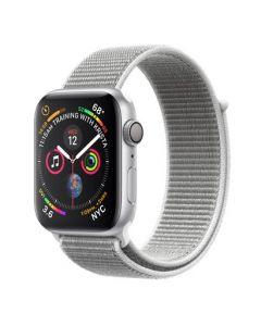 Apple Watch series 4 - 44mm - zilver - schelpenwit geweven sportbandje