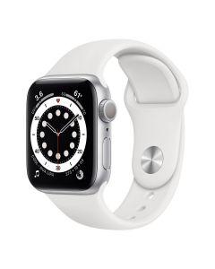 Apple Watch Series 6 - 40mm - Zilver - wit sportbandje