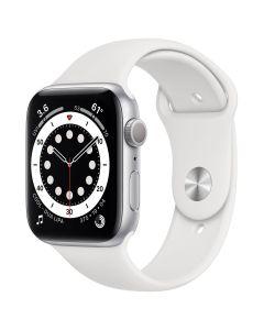 Apple Watch Series 6 - 44mm - Zilver - wit sportbandje
